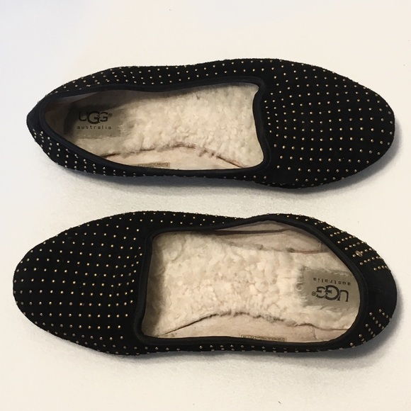 341a11c710e UGG Alloway Black Gold Studded Fur Loafers 8